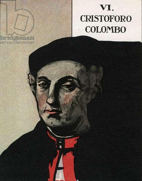 "Portrait of the navigator Christopher Columbus (1451-1506) Illustration taken from ""Il grandi navigatori italiani"""" by Giuseppe Fanciulli illustrated by Beryl Hight Tumiati, 1931."