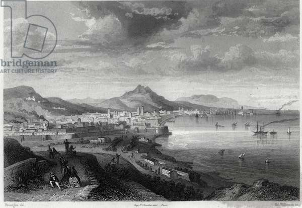 View of the city and port of Barcelona in the 19th century in the book on the Mediterranean by Louis Enault (1824-1900), French journalist and traveller.