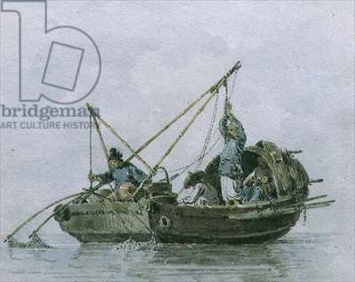 Chinese Fishermen in a Junk (w/c)