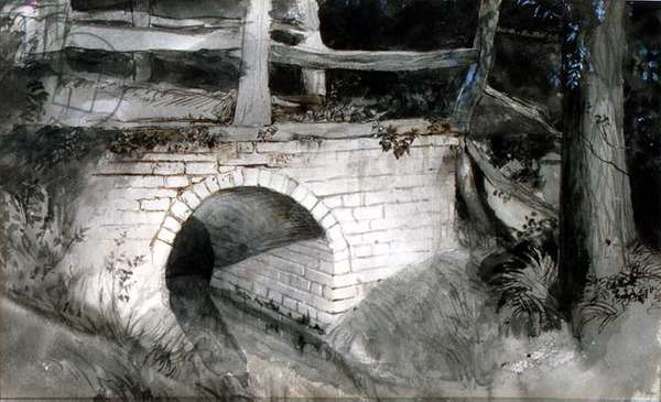 The Small Brick Bridge (ink with wash on paper)