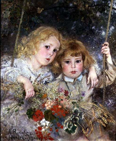 Portrait of Ernest and Beatrice Makins on a Swing (panel)