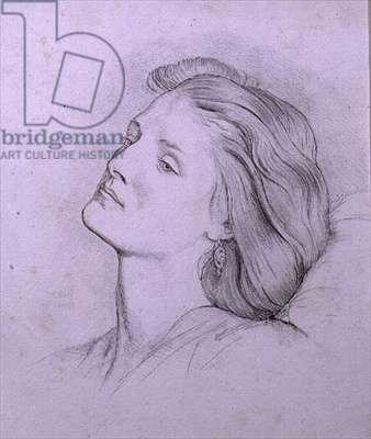 Head of Fanny Cornforth (pencil and chalk)