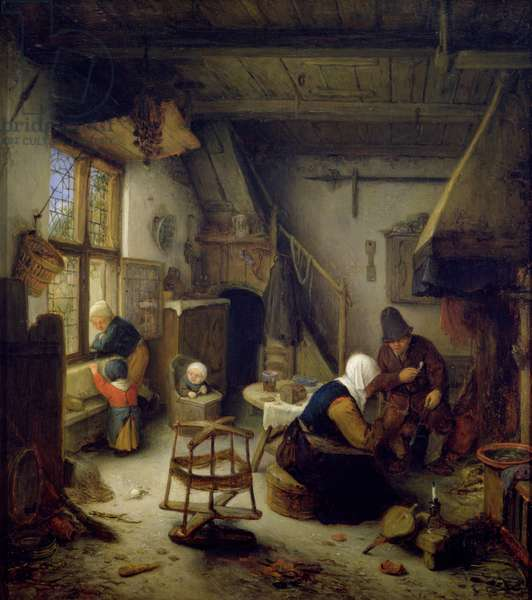 A Peasant Family at Home, 1661 (oil on panel)