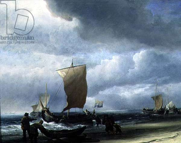 Fishing Boats Coming Ashore (oil on canvas)