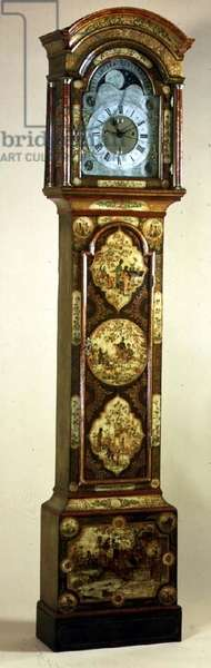 A George II cream and green lacquer long case clock by Isaac Nickals of Wells.  English, c.1750.