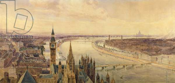 Architectural panorama of a proposed scheme for the South Bank of the Thames, c.1861 (w/c)