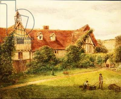 Gardeners with the Stables behind (oil on canvas)