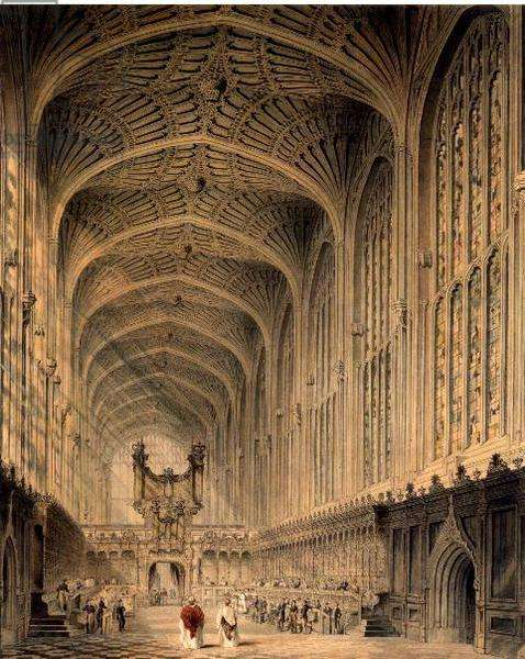 The interior of King's College Chapel, Cambridge, c.1815 (pen & ink, w/c and pencil)