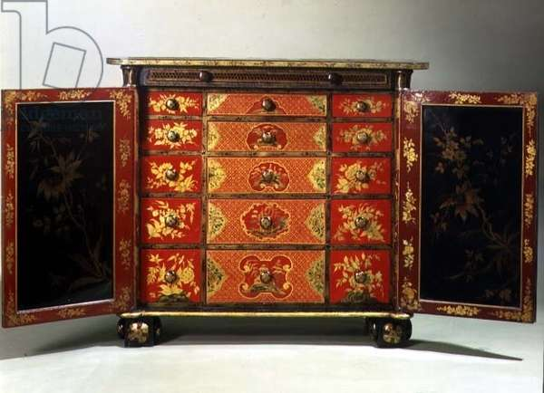 Regency red, black and gold lacquer cabinet, the door panels and drawer fronts japanned on copper, rare, English