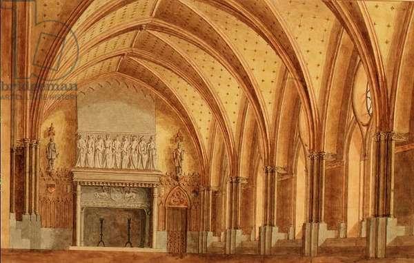 A Baronial Hall, c.1840 (w/c)