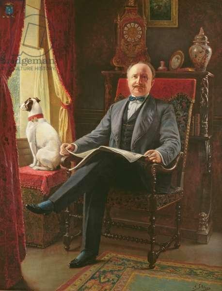Portrait of M. le Comte de C. with his dog