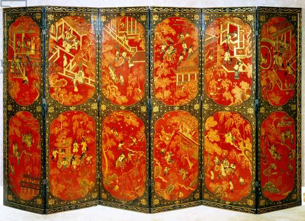 Six-fold screen depicting European figures in panels of red with black borders, c.1720 (lacquered wood)