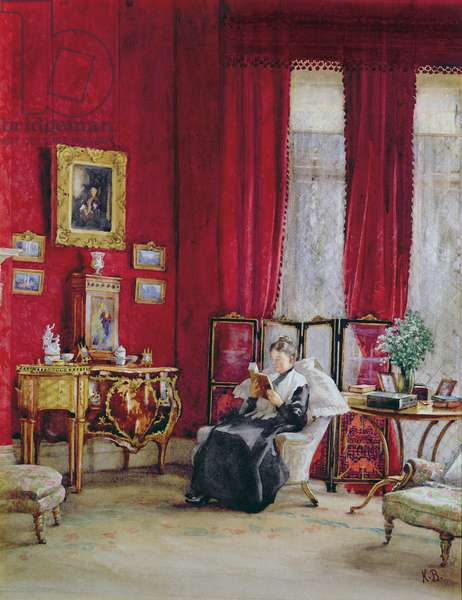 A Victorian Interior with a Lady Reading