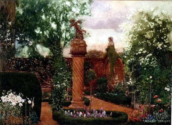A Walled Garden with Statuary