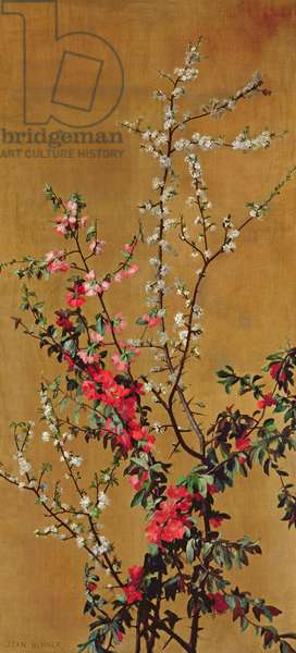 Japanese Cherry Tree and Hawthorn Branches (oil on canvas) (see 215286 for pair)