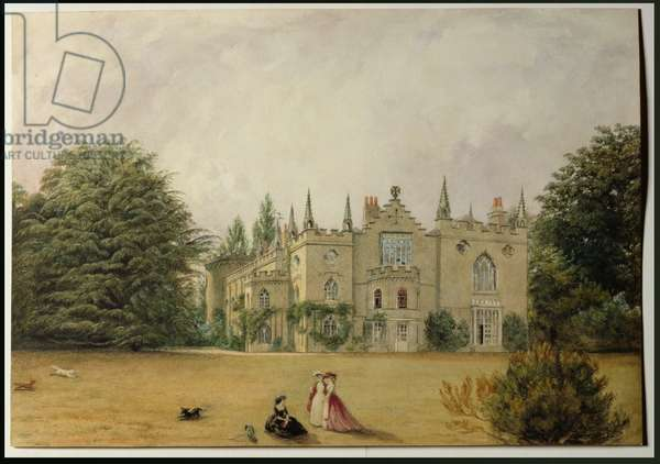 View of Strawberry Hill, Middlesex from the gardens (w/c)