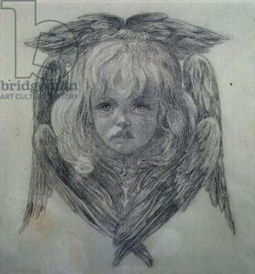 Study for the head of a child angel in 'The Blessed Damozel', c.1875 (black chalk) (see 15166)