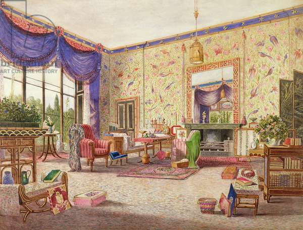 The Interior of the Chinese Drawing Room, Middleton Park, Oxfordshire, 1840 (w/c) (see also 75147)