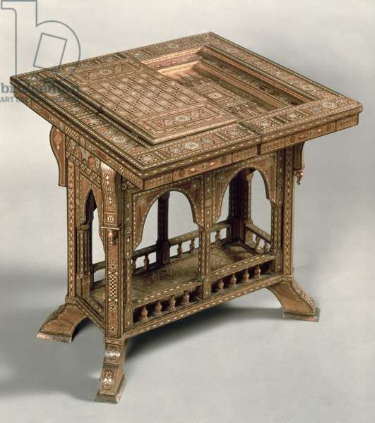 Games table, with elaborate ivory and ebony inlay, Indo-Portuguese, c.1830.