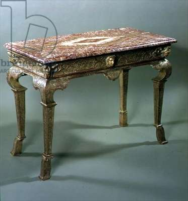 George I gilt gesso side table with jasper marble top, c.1720