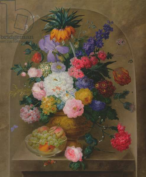 Still Life of Fruit and Flowers, 1807 (oil on canvas)