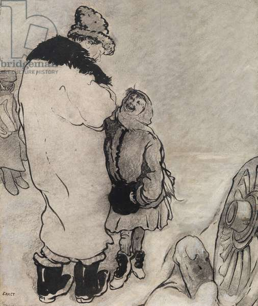 Man and Girl, 20th century (ink & graphite on gessoed heavy weight paper laid on board & mounted on wood panel)