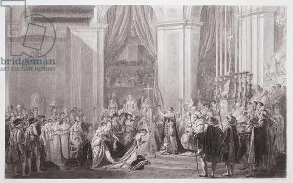 Sacre de l'Empereur Napoléon et Couronnement de l'Impératrice Joséphine dans l'Église de Notre-Dame de Paris (2 Décembre 1804), engraved by Jean-Jacques Frilley (1777-1840), early 19th century (engraving)