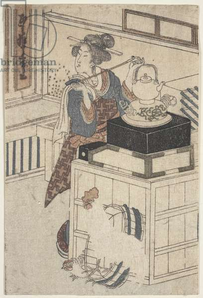 Bijin with Rooster and Hen (woodblock print)