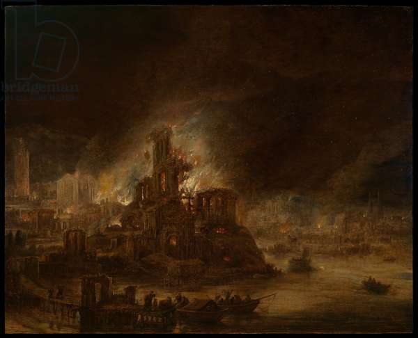 The Burning of Troy (oil on panel)