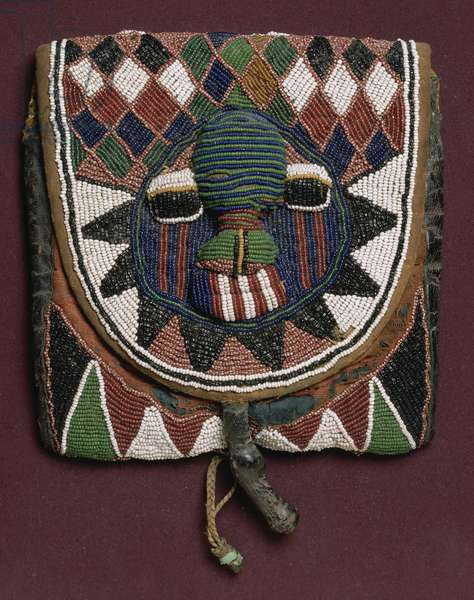 Apo Ifa (Beaded bag) (beads, leather, cloth)