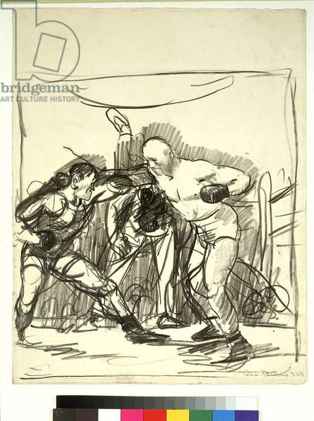 Prize Fight, c.1919 (lithographic crayon on paper)