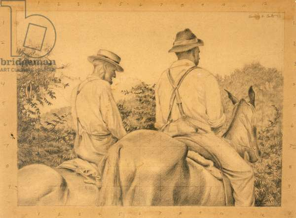 Study for Kentucky Hills, 1943 (pencil on brown paper)