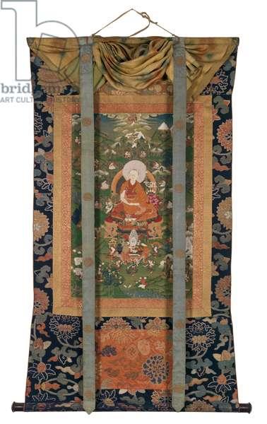 Seventh Dalai Lama and His Chakrasamvara Initiation, late 18th century (Thangka: colours on cloth, cloth mountings, wooden dowels)