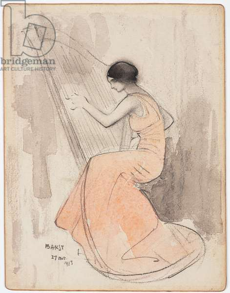 A Woman Playing the Harp, April 17, 1913 (w/c & pencil on gilded cardstock)