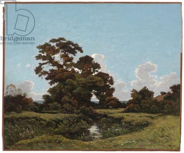 Paysage au Pecheur au Bord du Loing (Landscape with Fisherman along the Banks of the Loing), 1882 (oil on canvas)