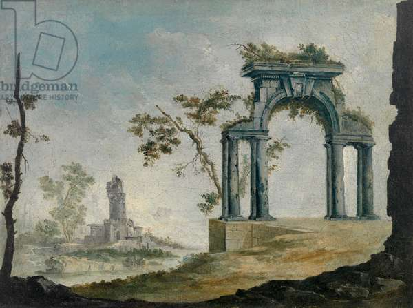 Landscape with Ruins, 18th century (oil on canvas)