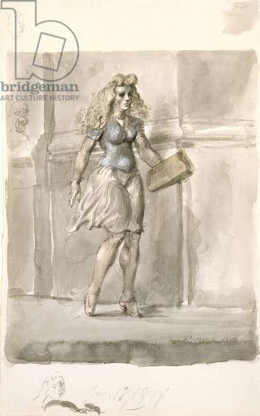 The Street Walker, 1944 (w/c, drawing)