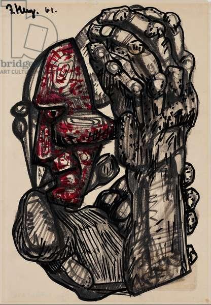 The Thinker, 1961 (ink & w/c over felt tip pen)