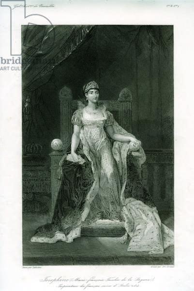 Joséphine (Marie-Françoise Tascher de la Pagerie) Impératrice des Français Reine d'Italie, etching by Emile Giroux (19th century), 1814 (etching)