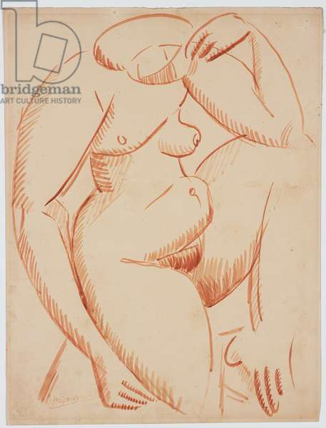 Nude on One Knee, before 1912 (brush & sepia ink on Bristol board)