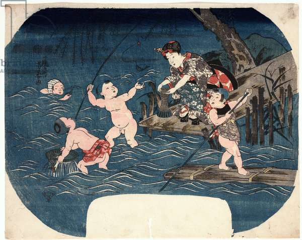 Children Playing in a river, c.1850 (woodblock print)