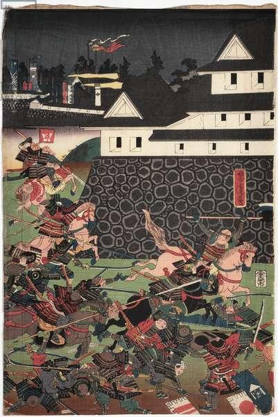 Battle Scene, c.1850-80 (woodblock print)