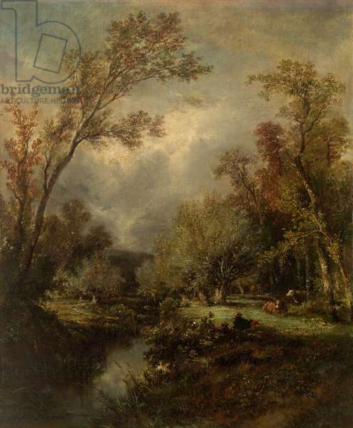 Landscape with Cows (oil on canvas)