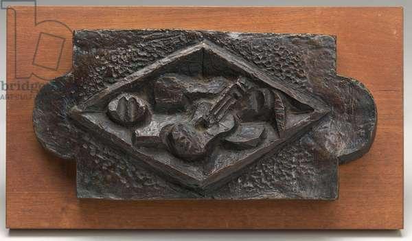Bas-relief with a Guitar, 1918 (bronze, dark brown & grey patina)