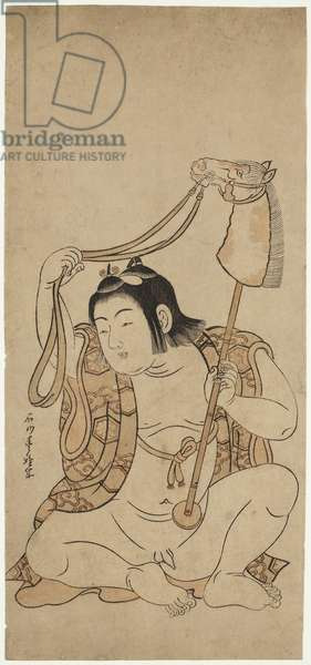 Young boy with hobby horse (woodblock print)