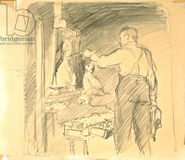 Robert Henri Painting a Portrait (pencil on thin paper, white turned brown)