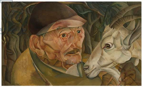 An Old Man with a Goat, 1920 (oil on canvas)
