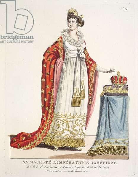 Sa Majesté L'Impératrice Joséphine. En robe de Cérémonie et Manteau Impérial le jour du sacre, early 19th century (etching, hand-coloured)
