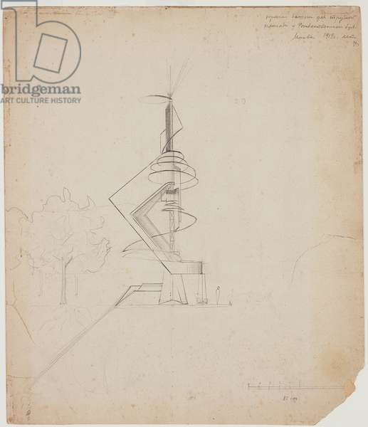 """Project of a Tower on """"Trubnaia Ploshchad'"""" in Moscow, 1919 (pencil on paper faced paperboard)"""