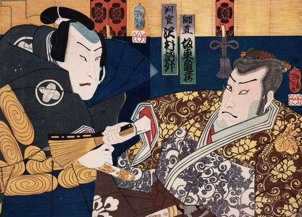 Sawamura Tossho and Bando Kamezo as Hangan and Moronao in Chushingura, 1862 (woodblock print)